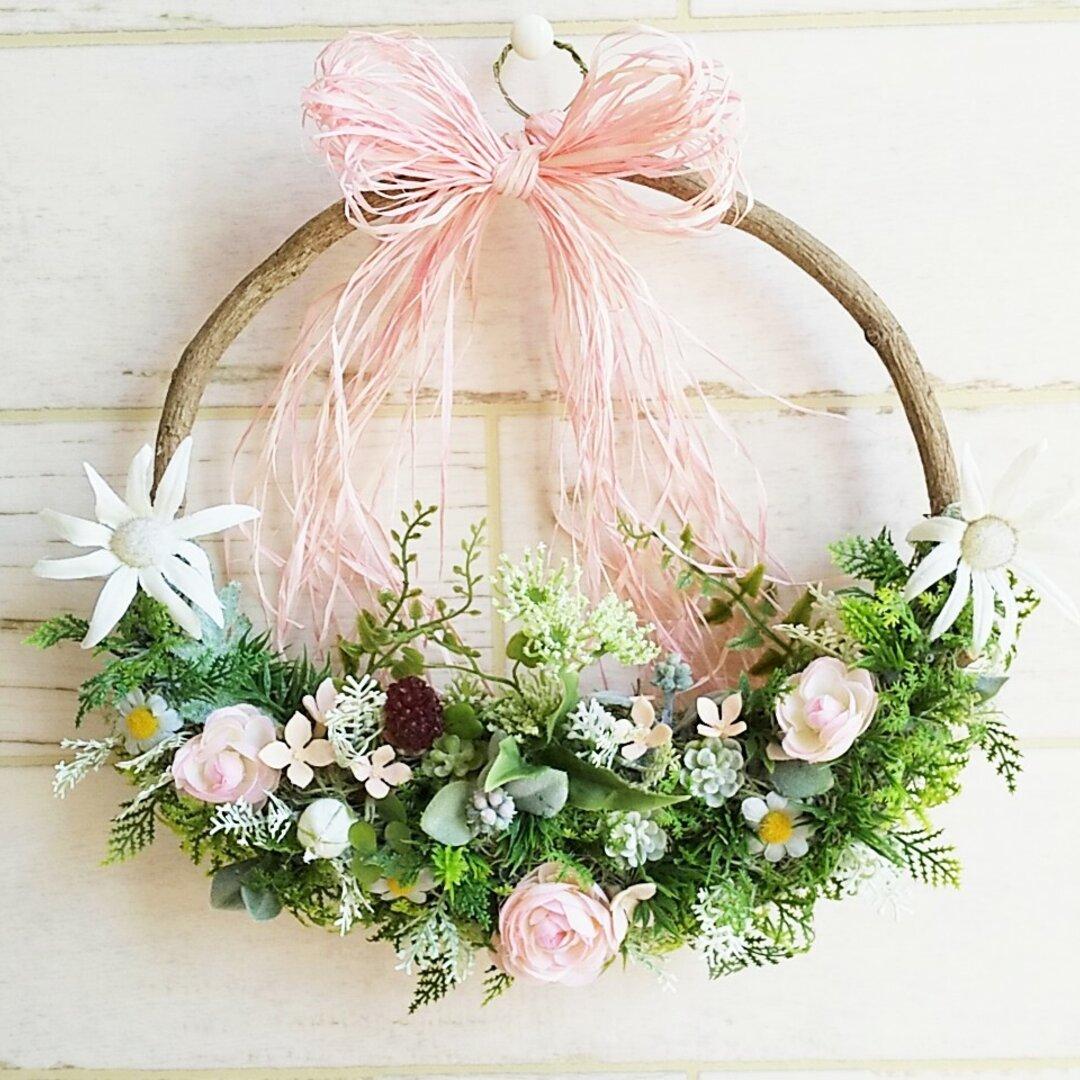玄関リース    ブバリアピンクリース     お誕生日プレゼント、母の日、ご結婚祝、記念日ギフト