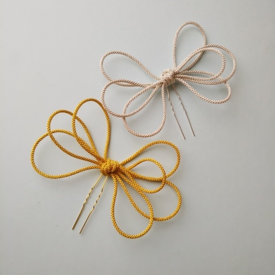 結びかんざし ゴールド/シルバー * 振袖 花嫁 成人式 かんざし 髪飾り