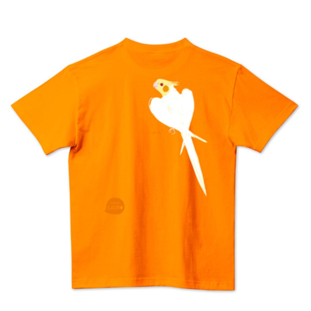 ごきげん オカメインコ 背中にルチノー アジアジ ワキワキ バックプリント Tシャツ 0235