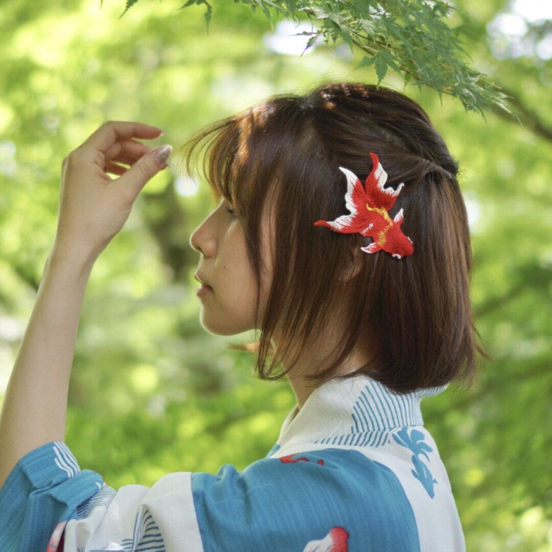 再販 真赤な金魚  立体刺繍の髪飾り  embroidery goldfish accessory      浴衣 和装 七五三