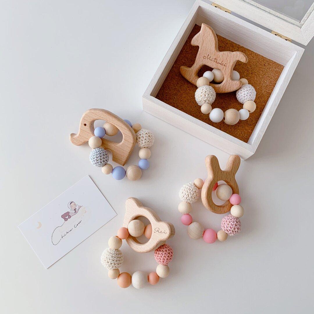 pastel color♡歯固めジュエリー 木製モチーフセット 歯固め 歯固めリング 歯固めホルダー