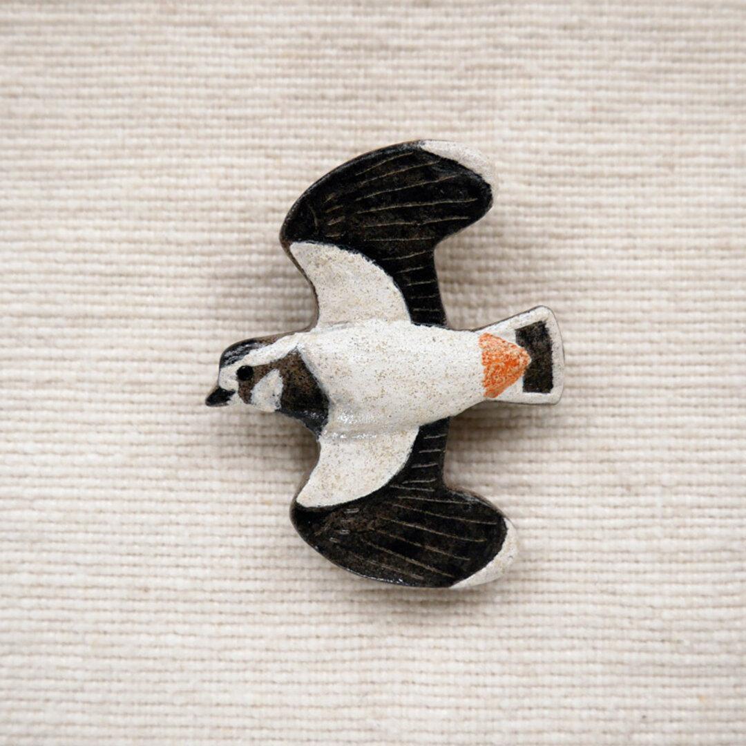 タゲリのブローチ 野鳥(マグネット変更可)