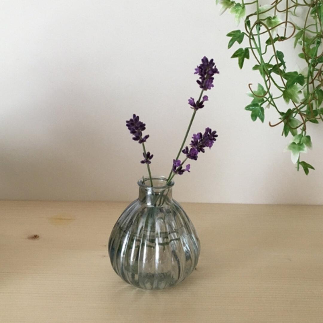 【Sサイズ】コロンとした一輪挿しの花器    涼やかクリアガラス 小さな花瓶 ガラス フラワーベース 花器