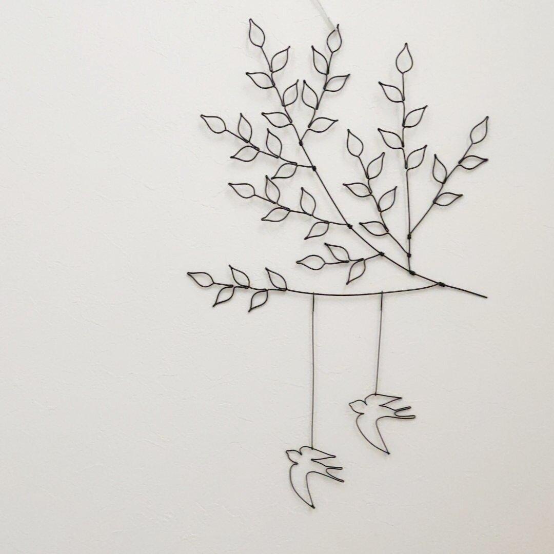 鳥と木の枝 ツバメ ワイヤークラフト ワイヤーアート