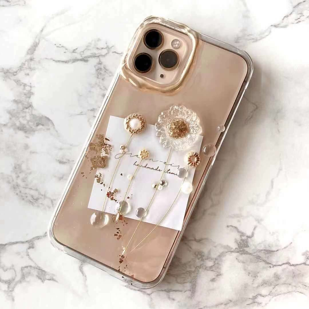 <G-5> nuance clear daisy flower design iPhone case