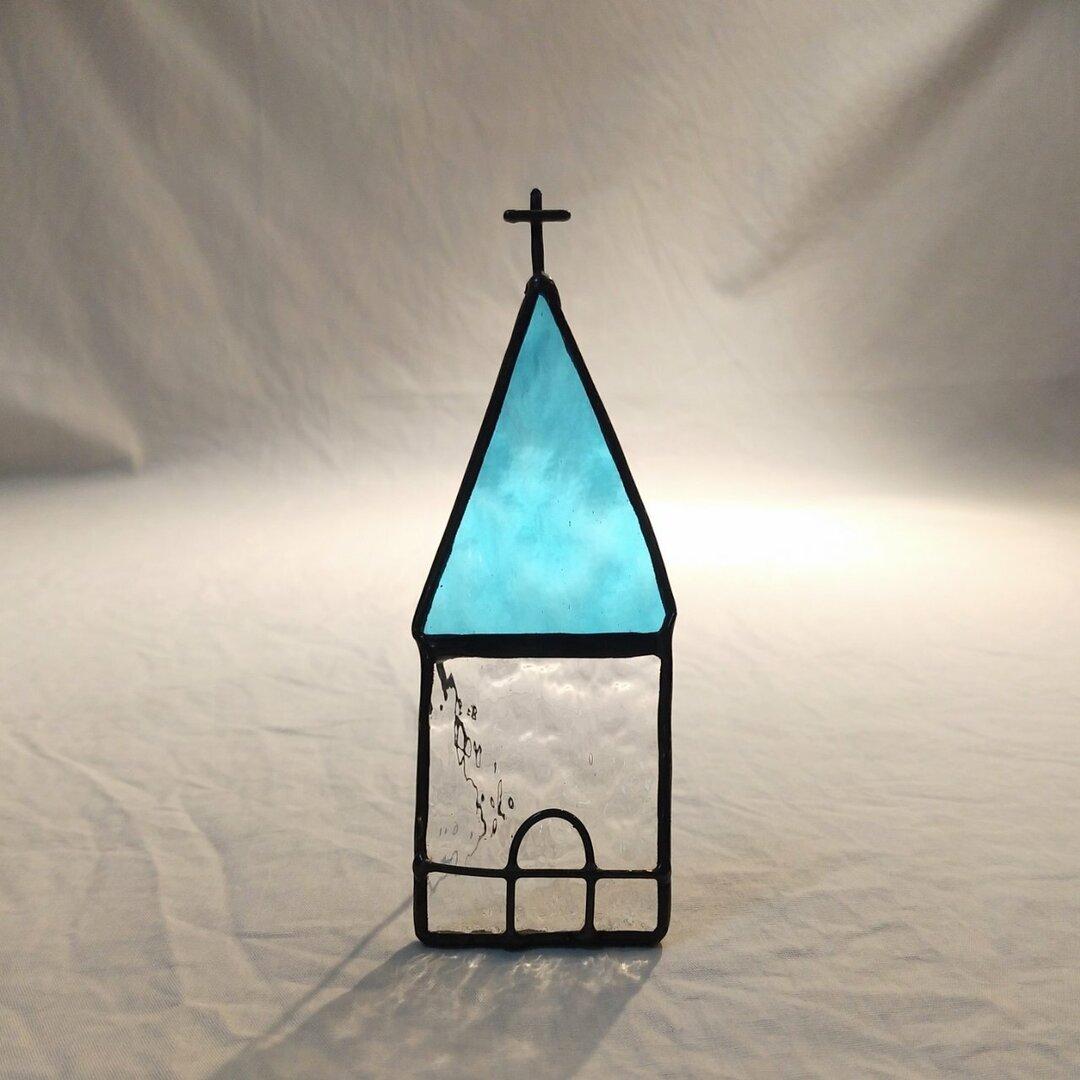 ステンドグラス 小さな教会  水色の屋根 gm-017