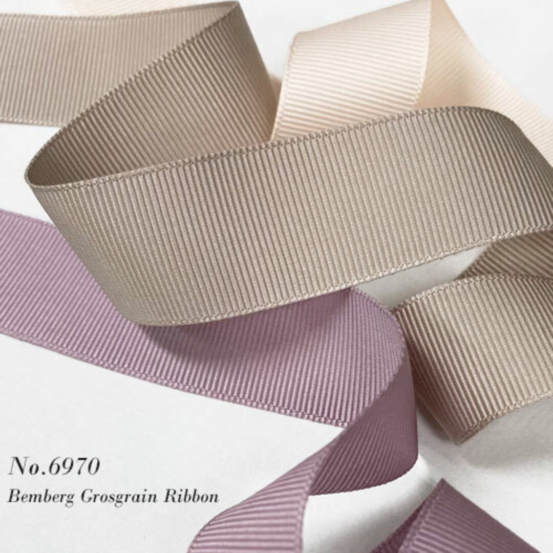《選べる40色》25mm幅ベンベルグ グログランリボン 【No.6970】2メートル