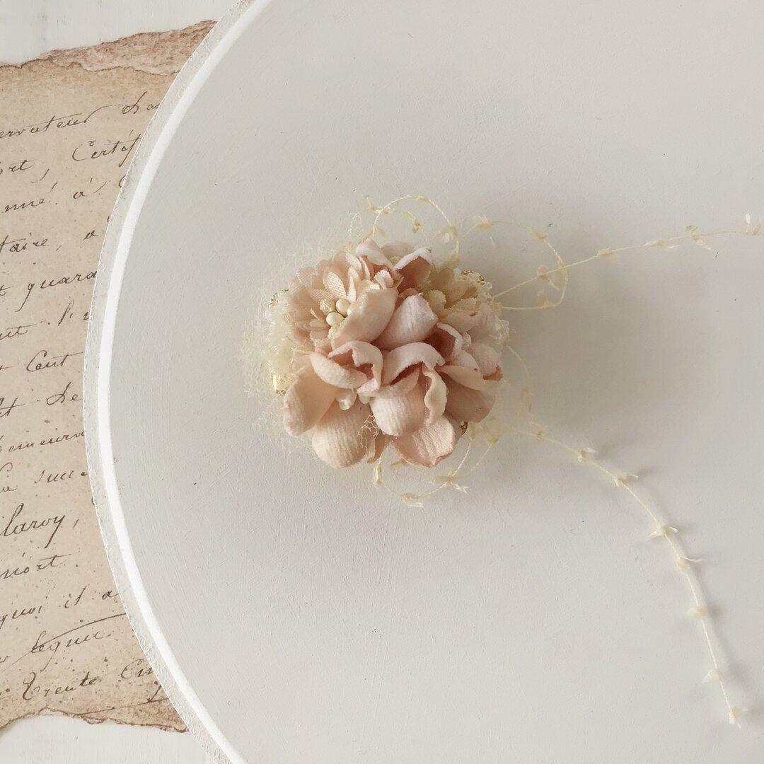 染め花のミニミニクリップ(アンティークホワイト)
