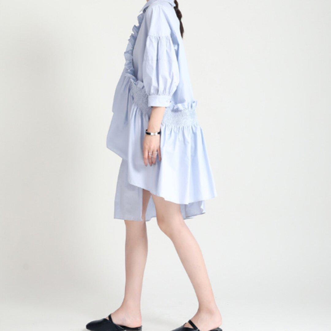 夏のファッションの新しい個性不規則な折り目フリルランタン袖ルーズシャツスカート
