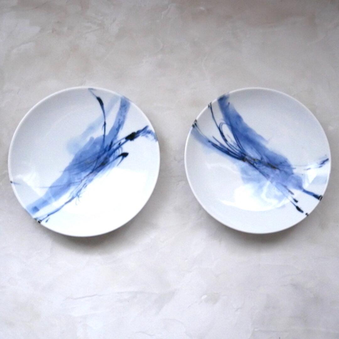 2枚セット うつわ 15cm 取り分け皿 和食器 九谷焼 器 染付 青 ブルー 抽象柄 no.014