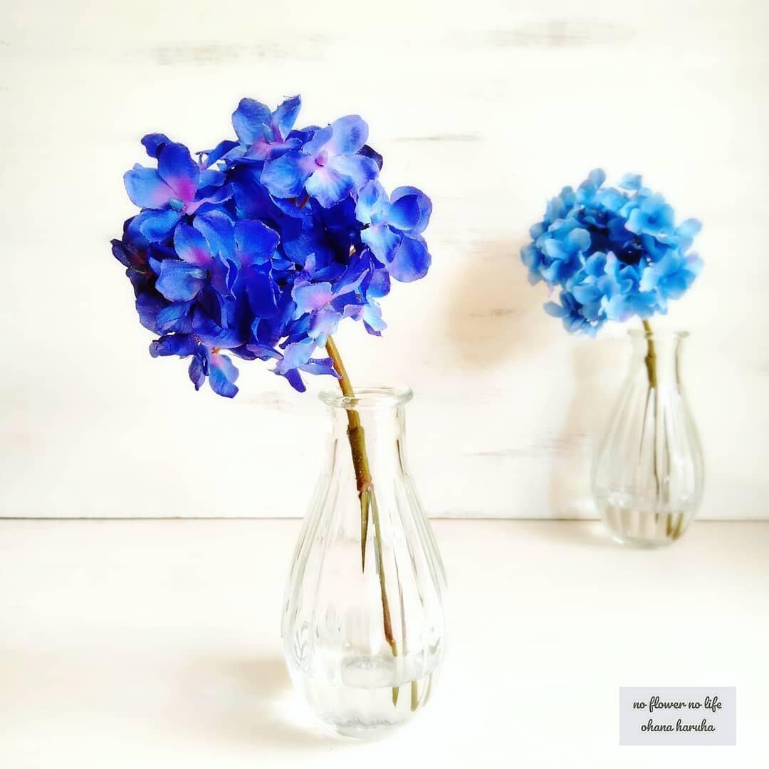 ロイヤルブルーの紫陽花 1輪挿し フェイクウォーター花瓶