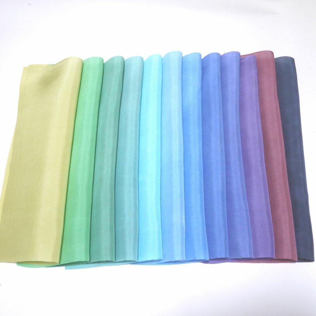 (H-01)正絹 胴裏 手染め12枚 12色 はぎれセット 緑青紫黒系 つまみ細工用布・吊るし飾りに