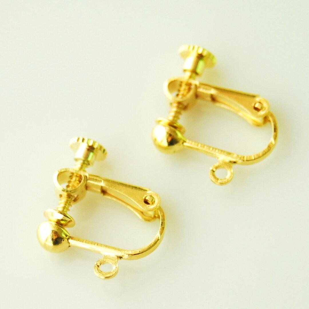 イヤリング パーツ 【まる 丸皿タイプ】 金具 ゴールド 20個 アクセサリー パーツ ネジバネ式