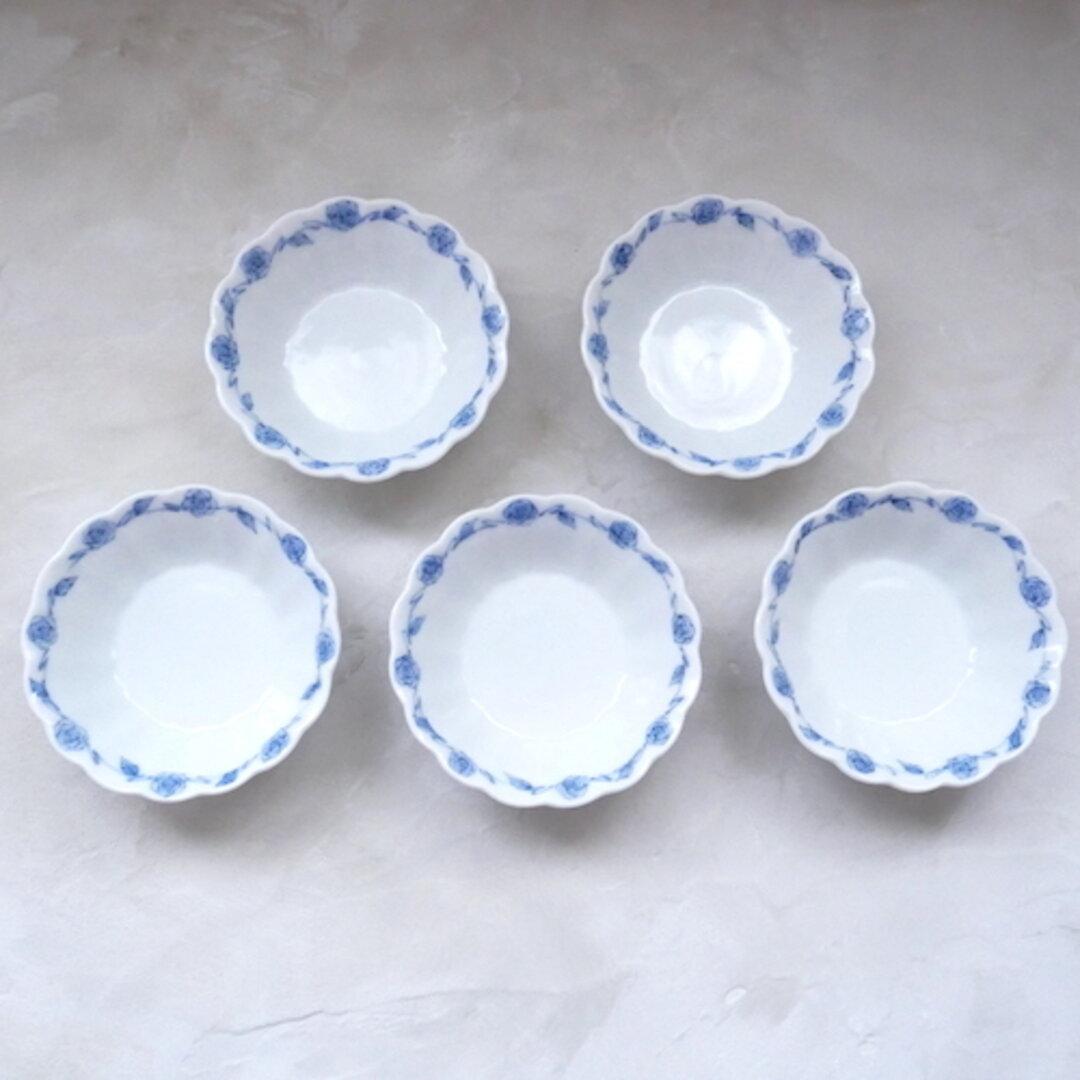 5個セット ローズ柄 和食器 九谷焼 器 うつわ 薔薇柄 小鉢 うつわ 染付 青 ブルー no.022