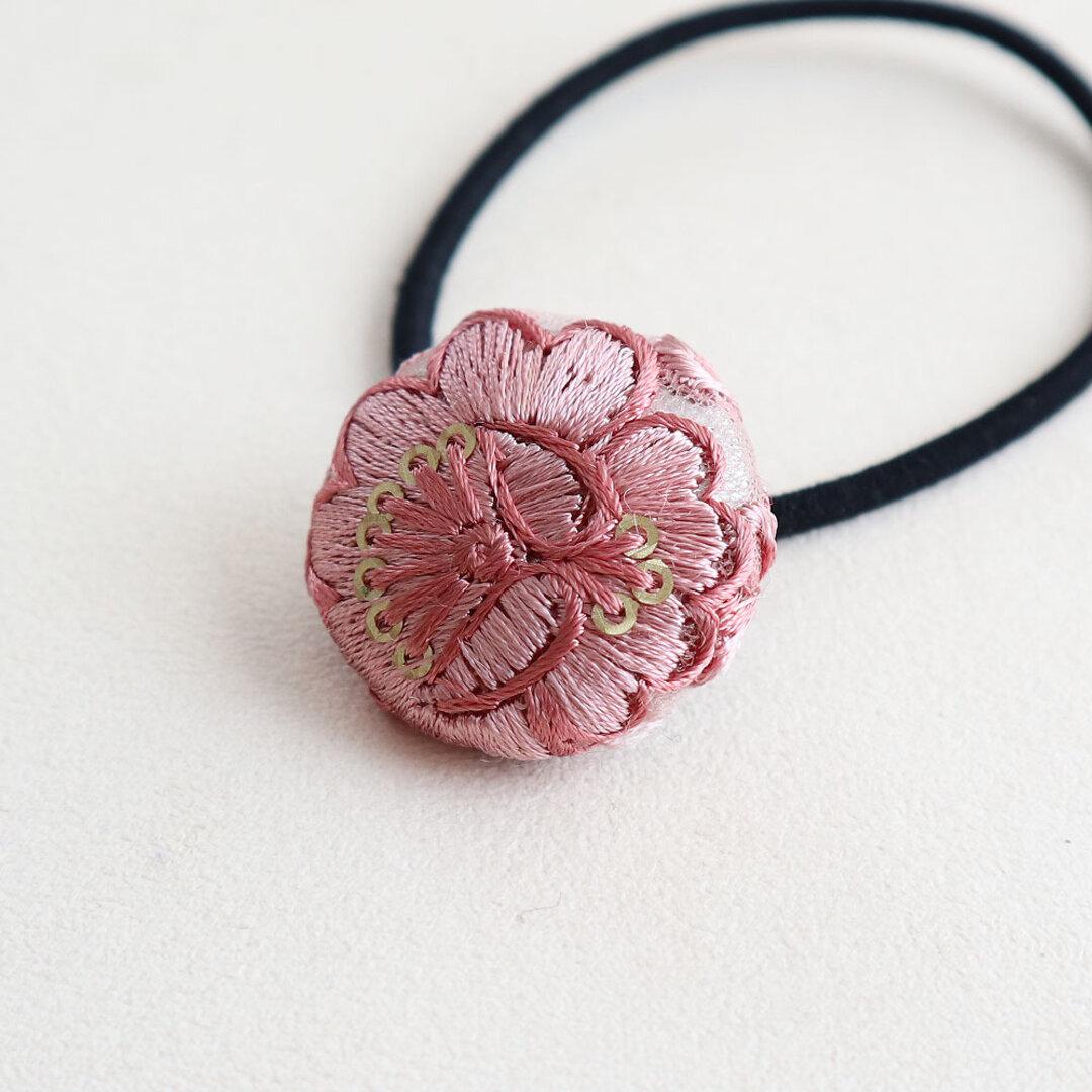 インド刺繡 花柄のピンクレース ヘアゴム