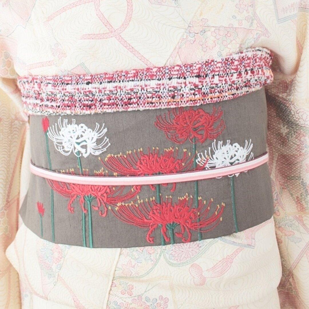 彼岸花の刺繍名古屋帯