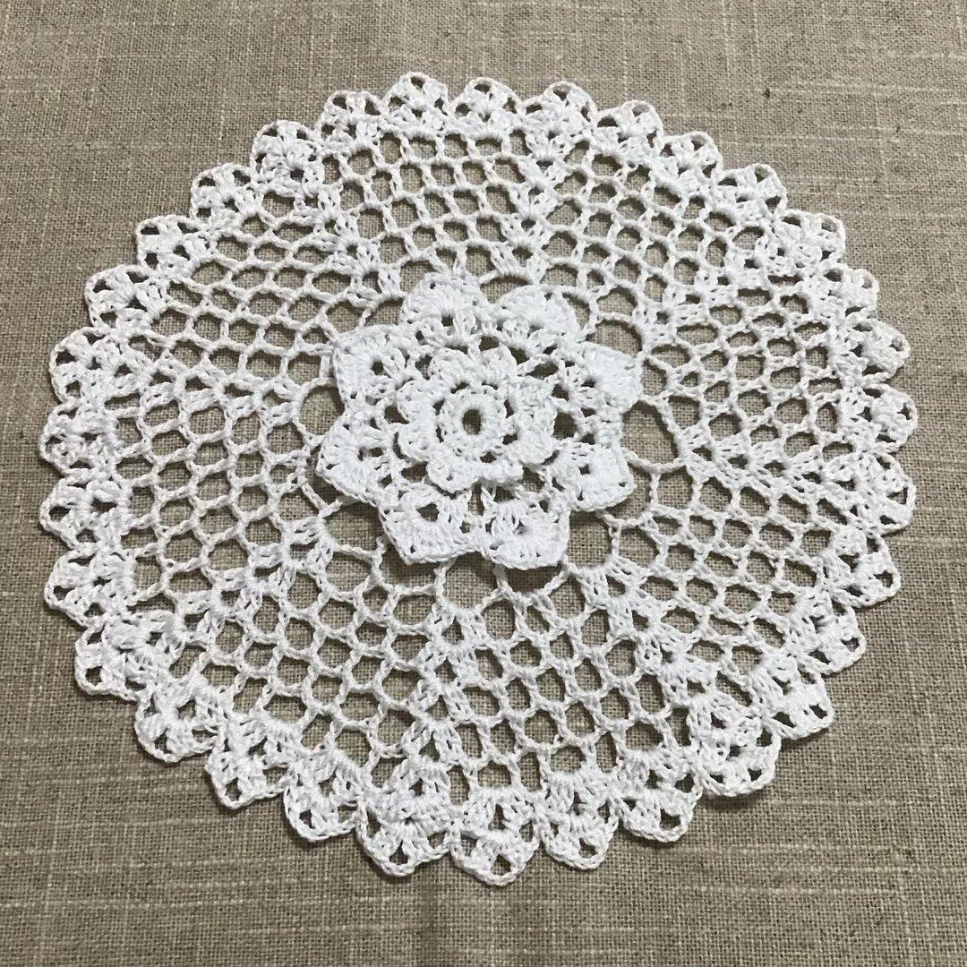 おみせママ karen 可憐 センターフラワー 大 ホワイト お花 ドイリー テーブルセンター