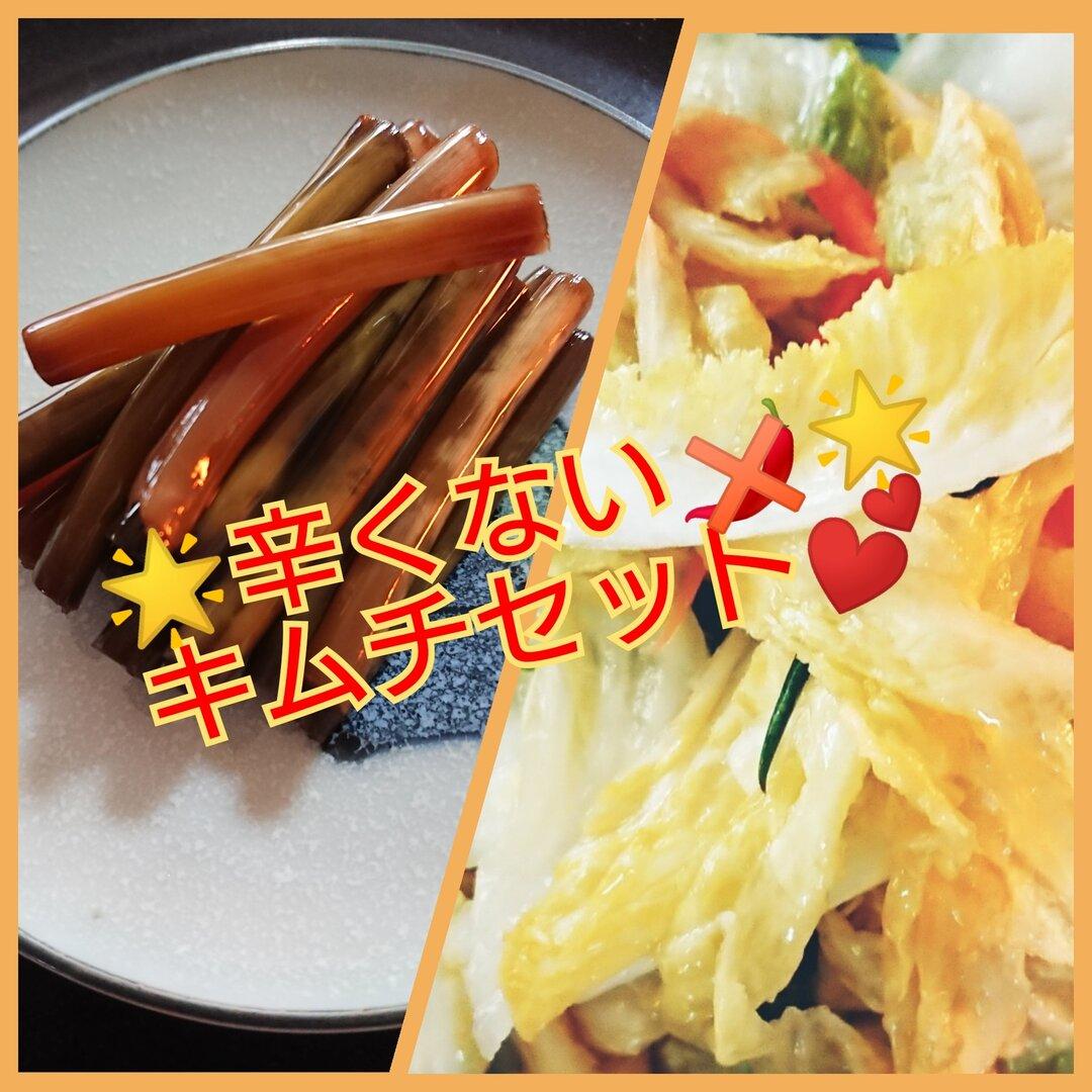 🌟辛くないキムチセット🌟ペク(白)キムチ500g💓ニンニク茎醤油漬け150g