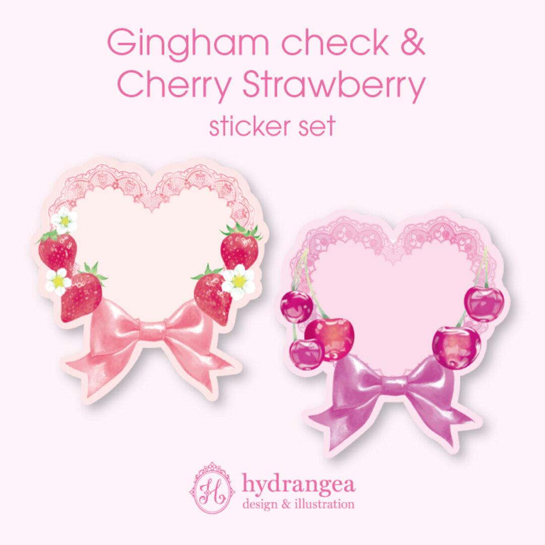★受注生産★【Gingham check & Cherry Strawberry】ダイカットシール