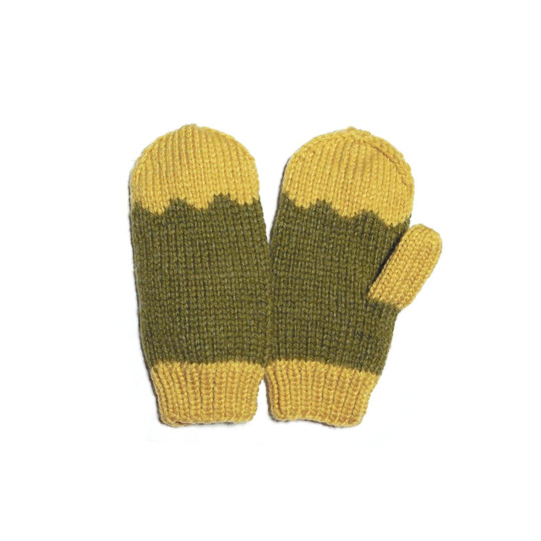 黄色&モスグリーン あったかミトン(手袋)