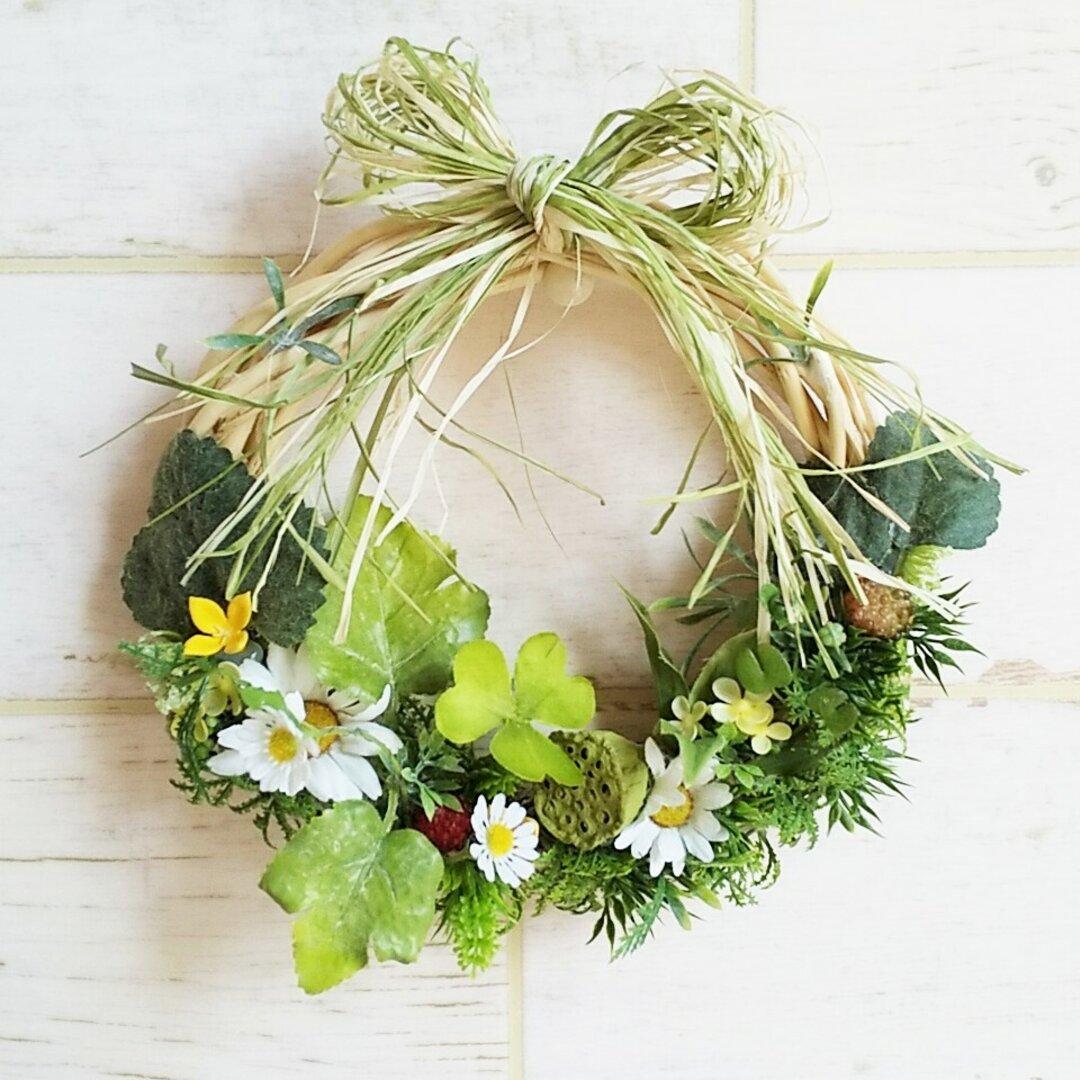 玄関リース    沢の花達    プチサイズ     結婚記念日、母の日、お誕生日プレゼントに。