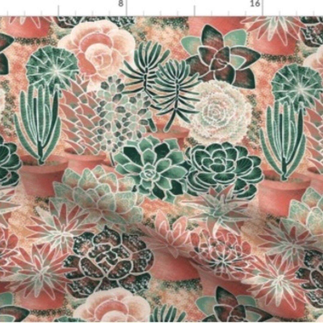 輸入生地 生地 多肉植物 サボテン 植物 花柄ハンドメイド素材 緑 自然 花柄