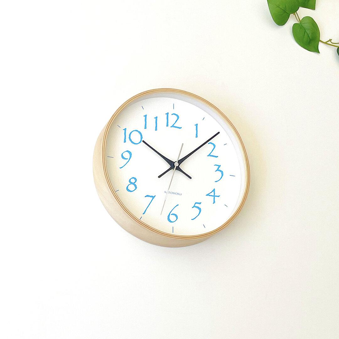 plywood clock 20 ライトブルー km-119LBRC 電波時計 連続秒針 掛け時計