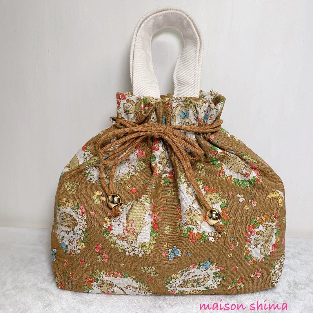 きんちゃくバッグ「お花とアニマル(ブラウン)」