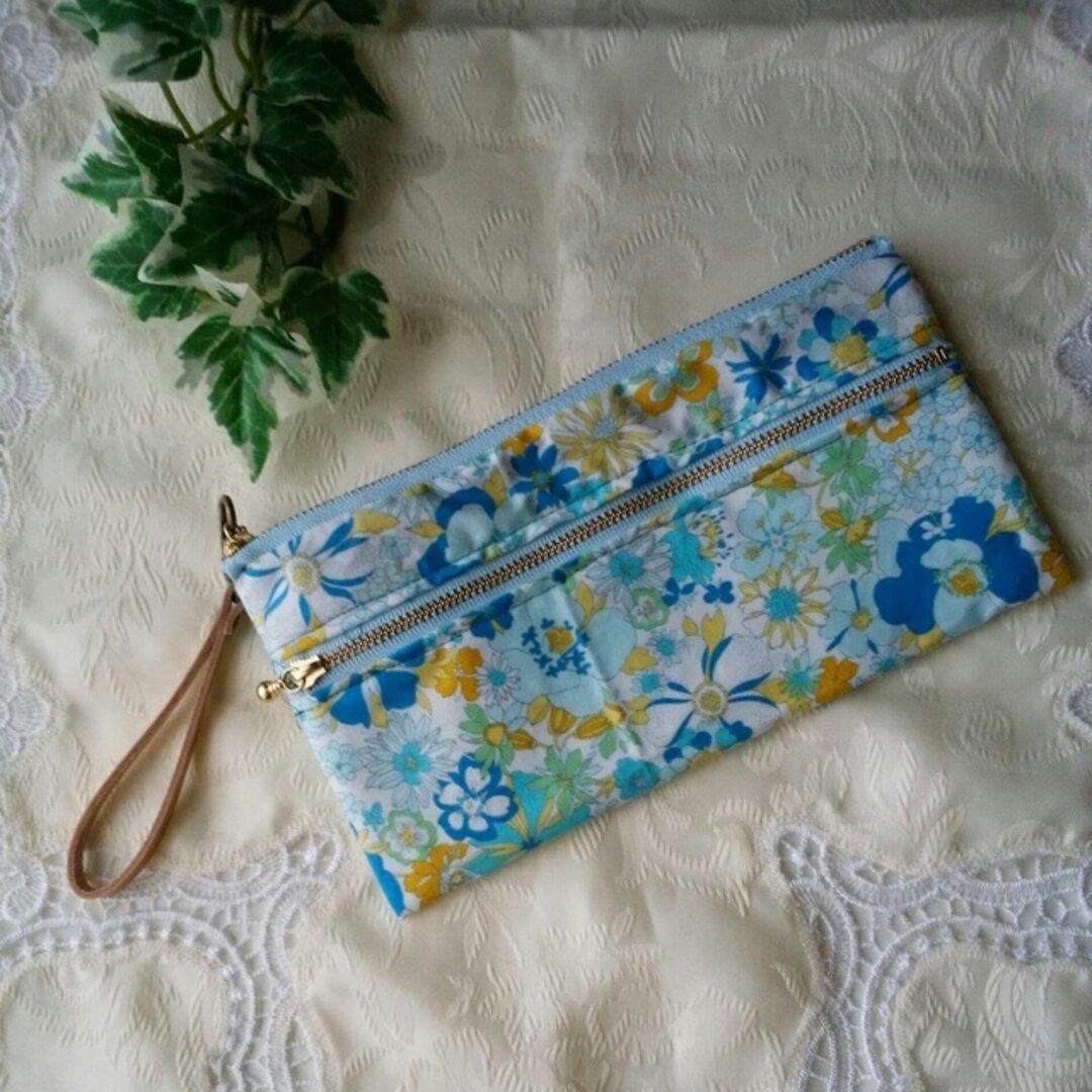 ブルー花柄 ダブルファスナーお財布ポーチ