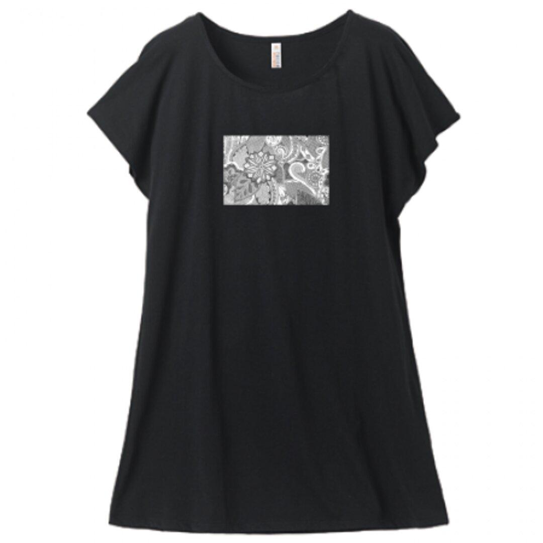 ディワーカル君デザイン「草と花」ミニ丈Tシャツワンピース・レディース(Mサイズ )ブラック