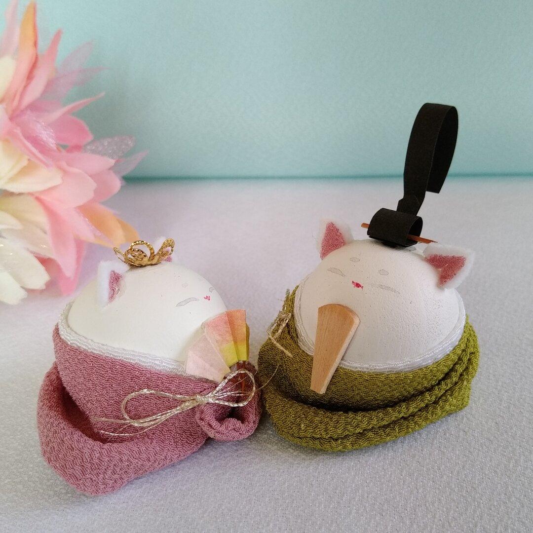 小さな木球のおひなさん(猫③)