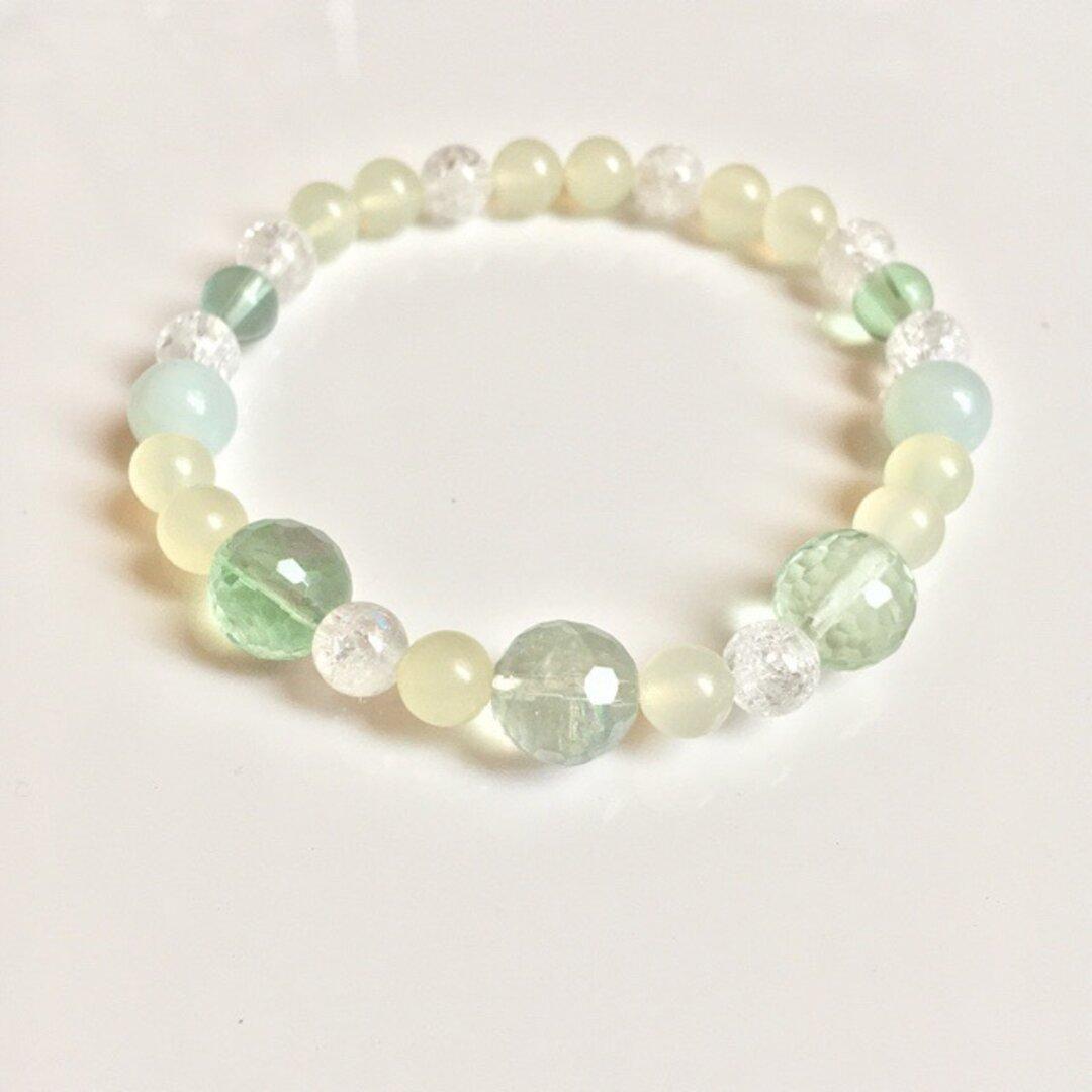 グリーン/癒しのブレスレット/フローライト・アマゾナイト・プレナイト・クラック水晶