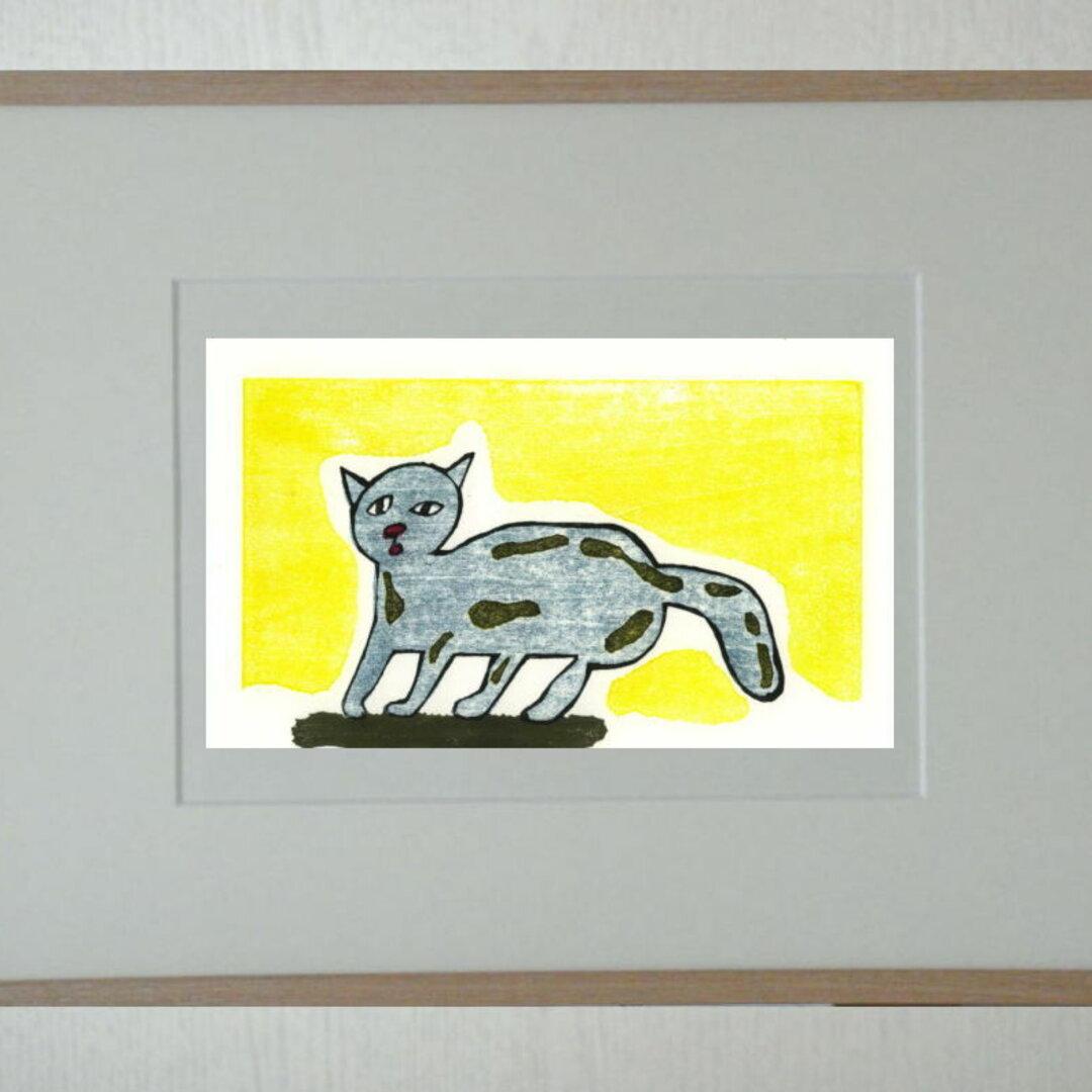手刷り木版画・青いねこ(354)