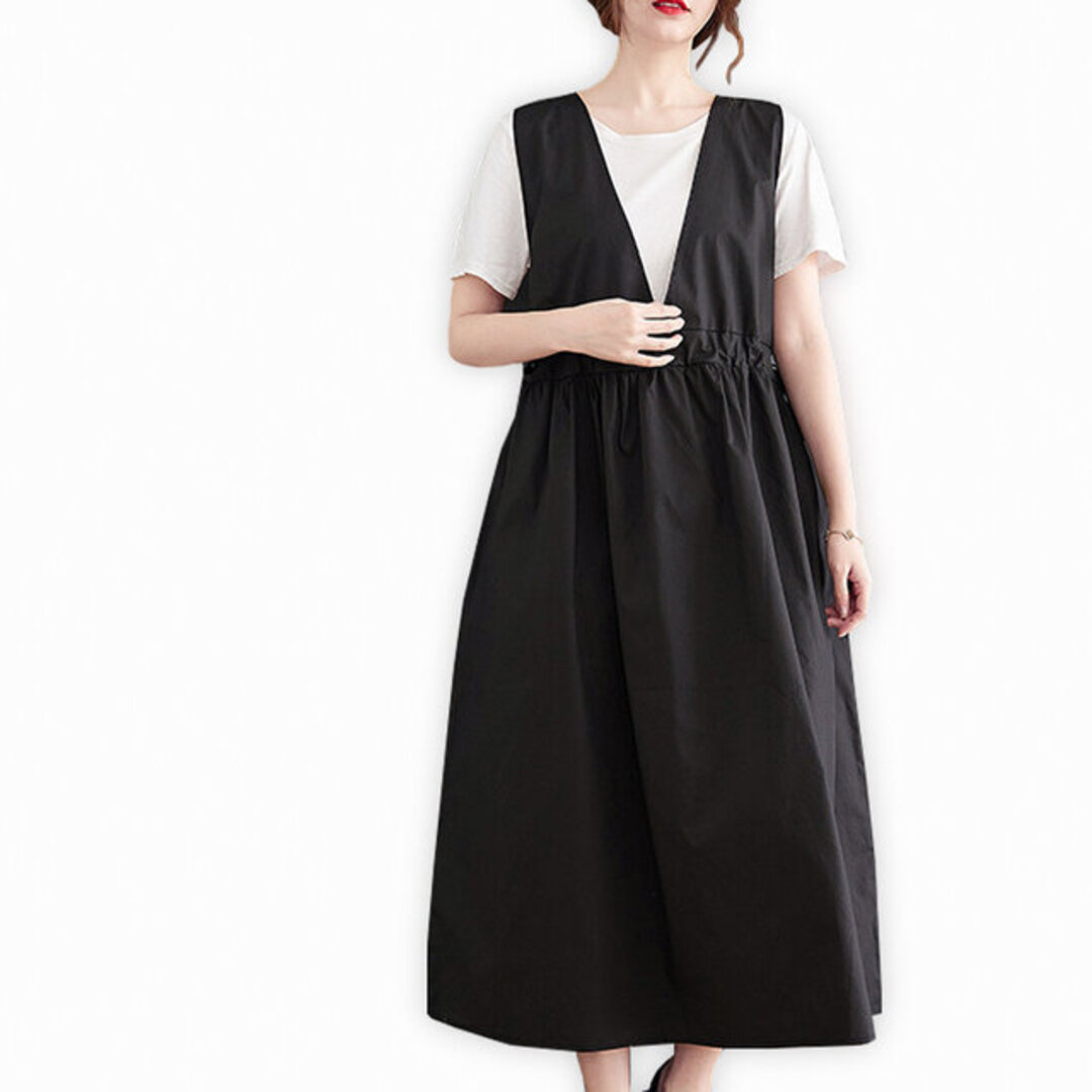 ブラック  袖なし ワンピース レディース 秋 ロング丈 おしゃれ 通勤 ゆったり 上品 ナチュラル 体型カバー オリジナル シンプル