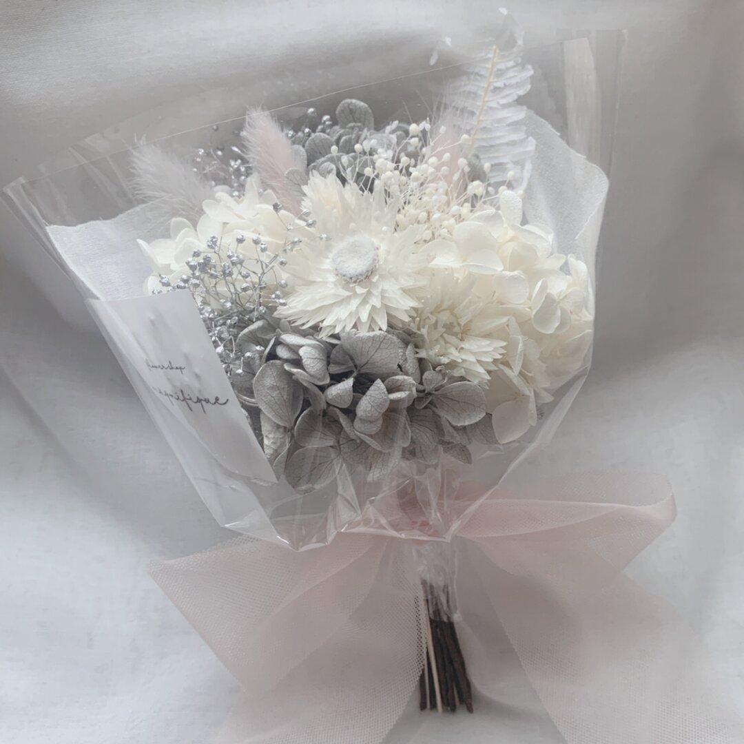 再販×3  グレー系 ドライフラワー 花束 ブーケ スワッグ ギフト