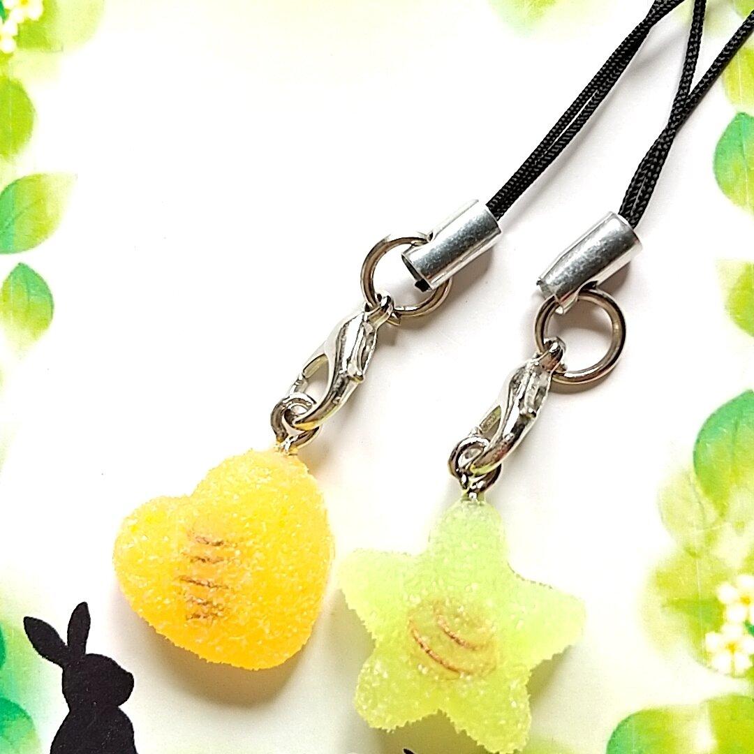 オルゴナイト 星とハートのストラップ(オレンジ色&イエロー)