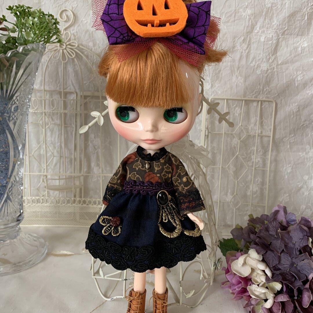 ブライスアウトフィット かぼちゃワンピース1 髪飾り