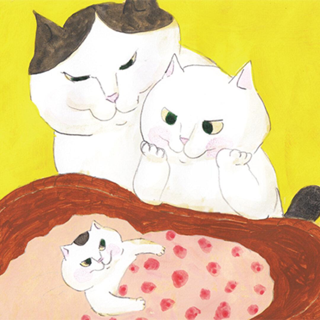 35. カマノレイコ 猫ポストカード2枚組 「赤ちゃん」