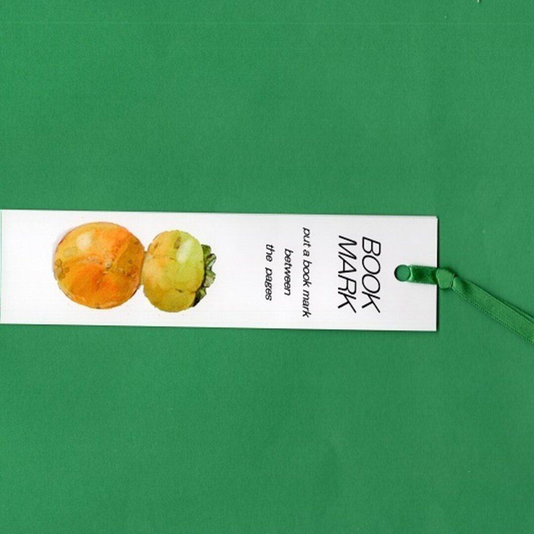 しおり2枚 両面癒しのイラスト  柿2個