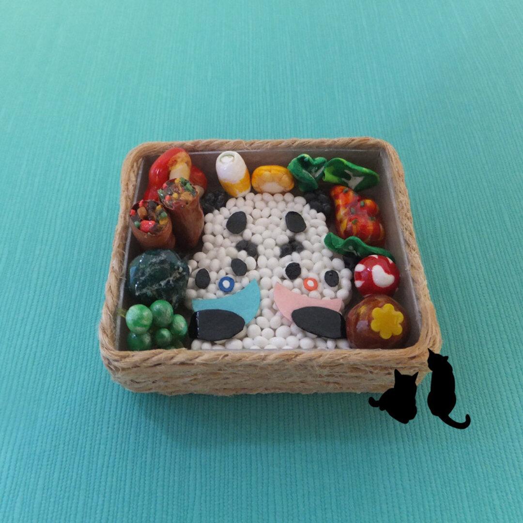 送料無料 ミニチュアフードのお弁当(双子パンダ)