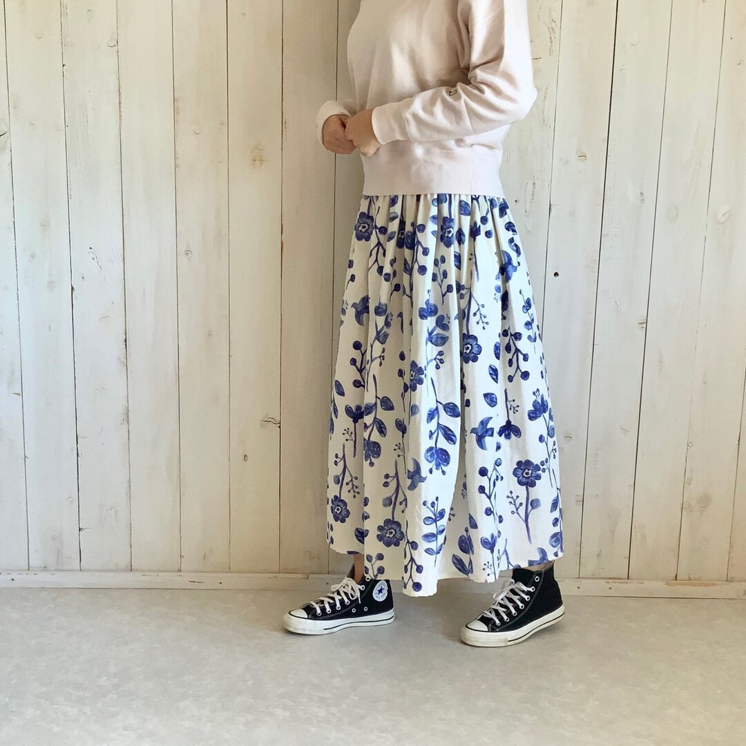 フラワー&バードダブルガーゼギャザースカート【アイボリー】