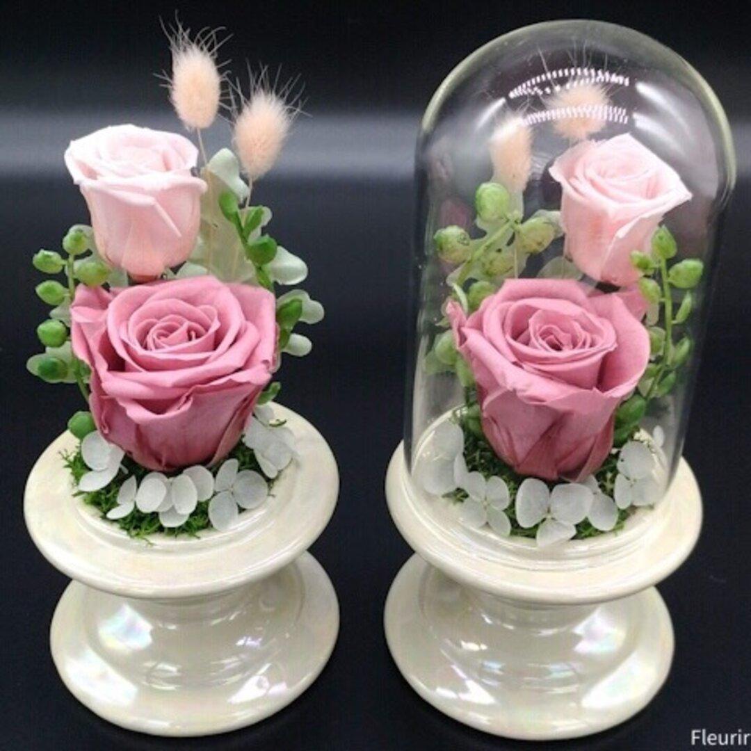 [再販×6] ピンクの仏花一対《お手入れ簡単クリアドーム》   お仏壇に お手間いらずの供花を