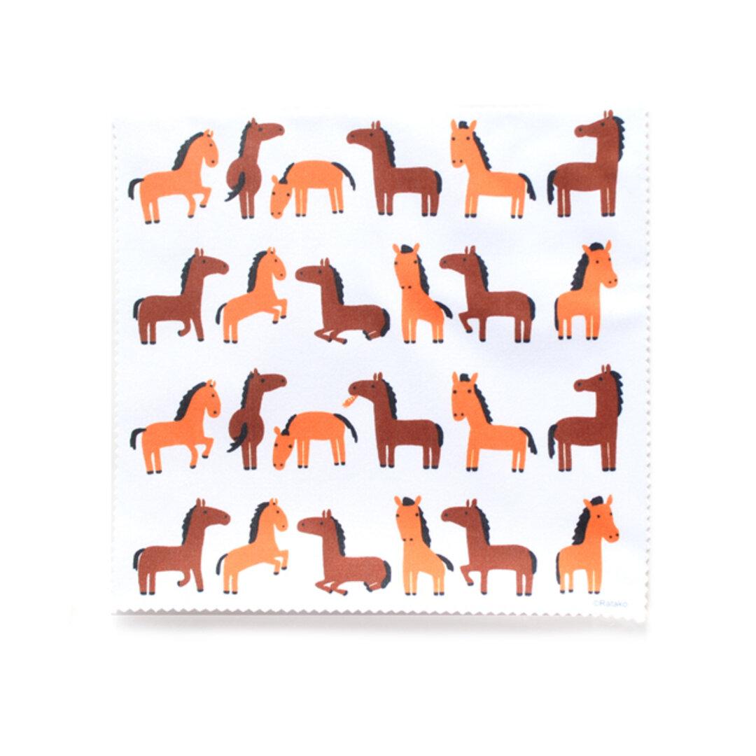 クリーニングクロス/メガネ拭き/スマホクリーナー 動物/うま/馬/ ブランド/リトルアニマル キャラクター/グッズ 携帯/タブレット 干支 サラブレット