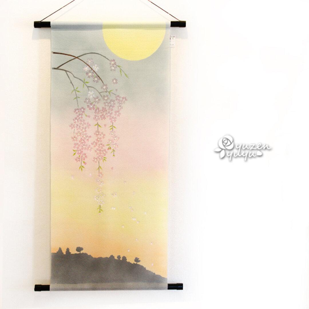 【送料無料】夜桜の手描きタペストリー