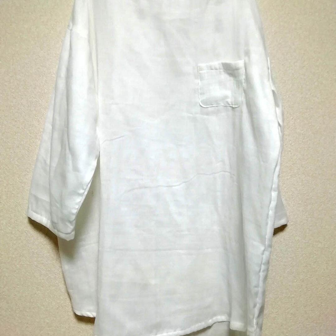 バスクシャツ〔国産ダブルガーゼ オフホワイト〕九分袖