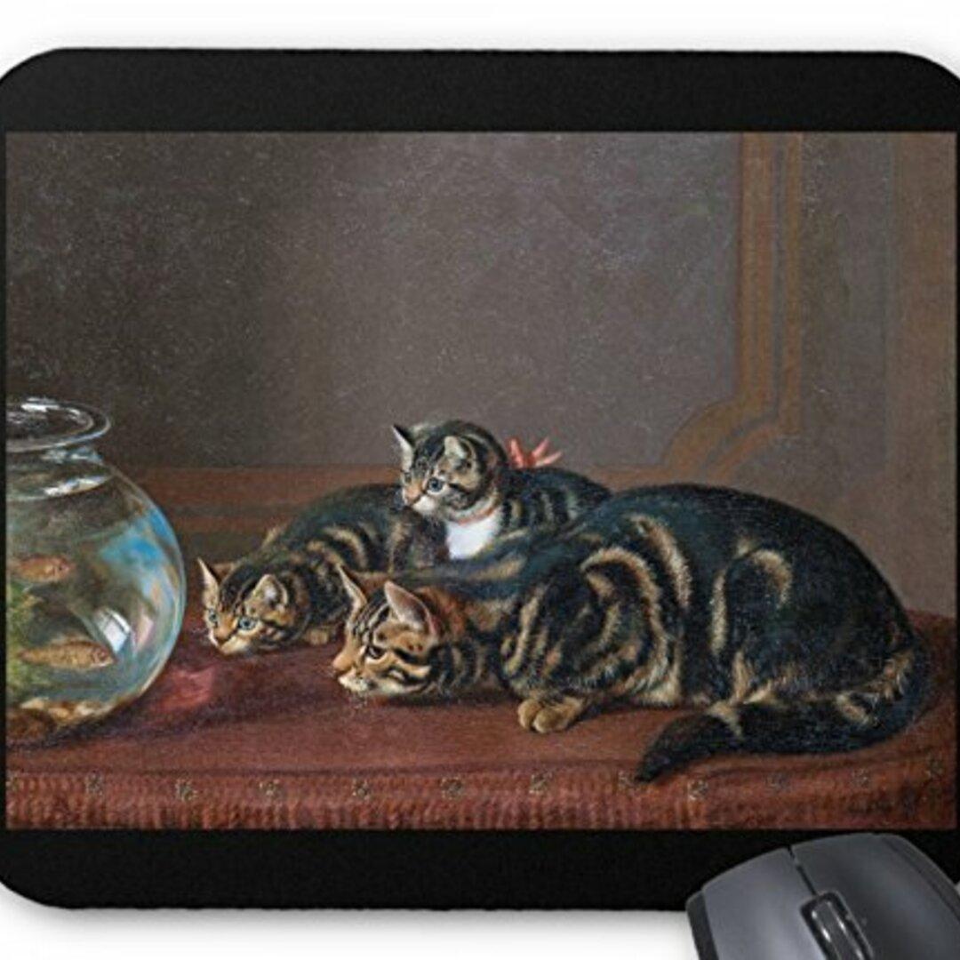 ホラティオ・ヘンリー・カーデリィ『 金魚鉢の側の猫 』のマウスパッド:フォトパッド(世界の名画シリーズ)