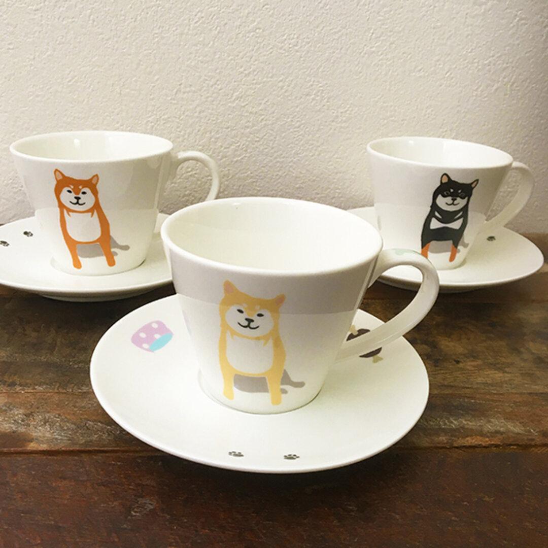 柴犬 カップ&ソーサー 赤柴 黒柴 白柴 3色 ★ 130ml コーヒー 紅茶 ココア おもてなし 家カフェ