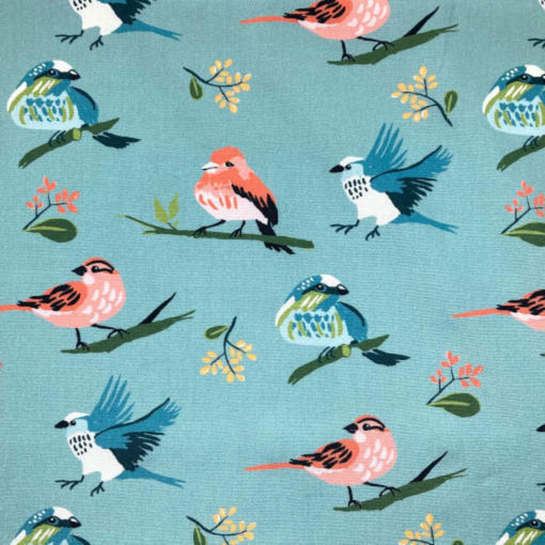 アメリカMonaluna プリント生地 カットクロス Vintage 74 フロックバード 鳥 小鳥