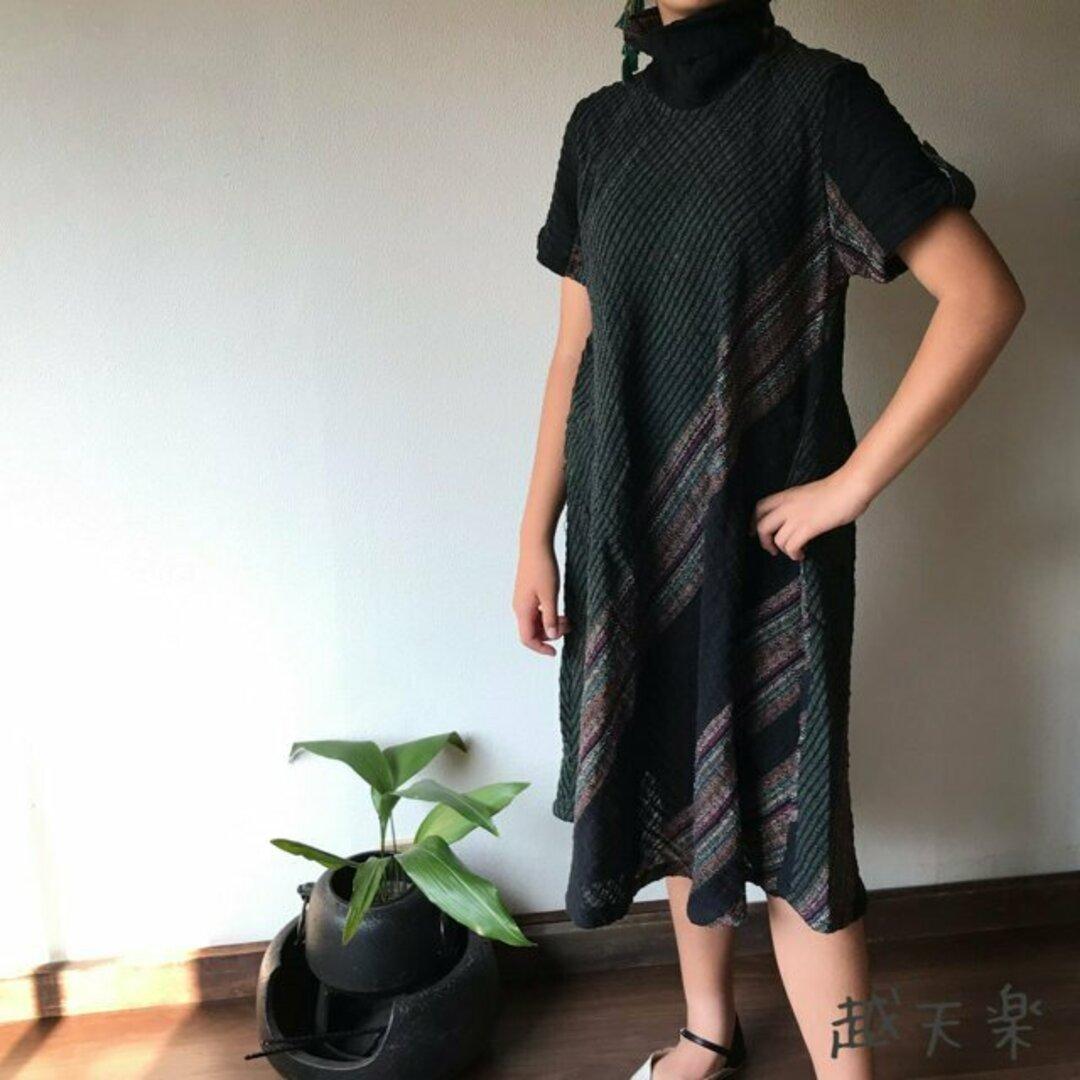 NHK「べっぴんさん」にてももクロ百田さん着用ロングセラー 後ろリボンとバイアス、ハイカラーの手織り綿ワンピース 黒緑絣