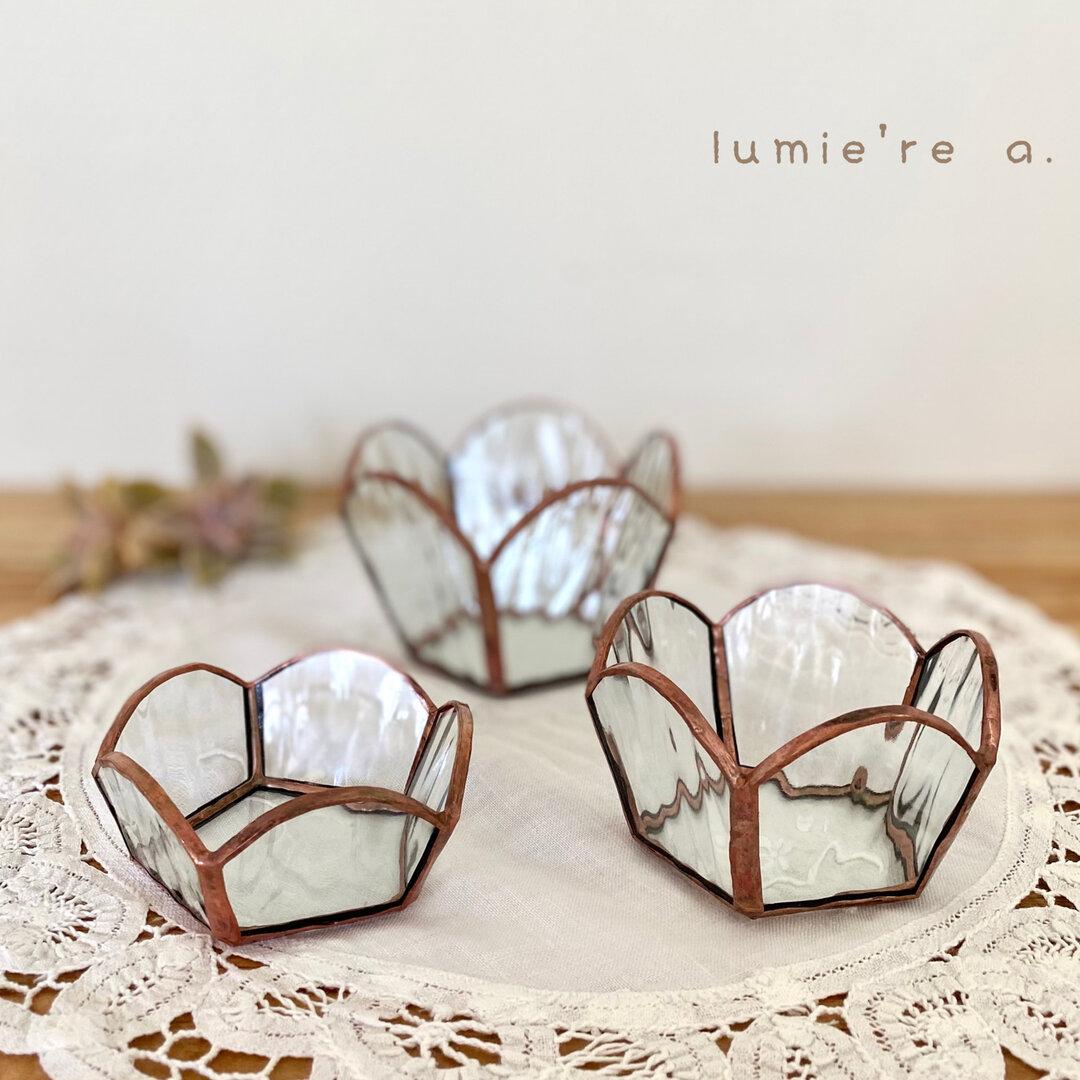 【 受注制作 】  *ステンドグラス* お花型 小物入れ キャンドルホルダー